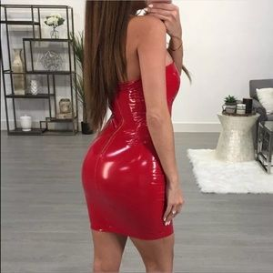 Red vinyl patent leather shiny stretch dress sexy